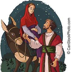 Mary, Joseph, Betty, Esel