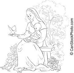 Mary mit Baby Jesus. Vector Cartoon Christian Farbseite