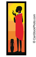 Masai-Frau im stehenden Vektor