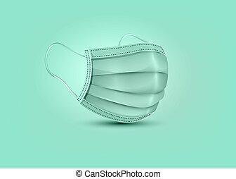 maske, mask., protection., sicherheit, realistisch, chirurgisch, hintergrund, atmungs, freigestellt, maske, klinikum, gesicht, vektor, grün, medizin, atmen, 3d, covid-19