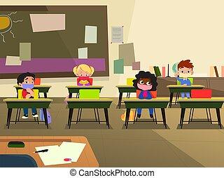maske, schule, abbildung, klassenzimmer, tragen, kinder