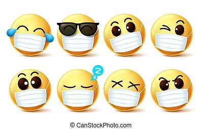 maske, vektor, ausdrücke, facemask, gesicht, set., auge, smiley, covid-19, emoji
