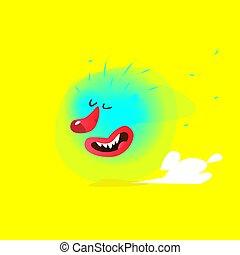 maskottchen, hintergrund., creature., gelber , character., abstrakt, monster, cloud., fliegendes, karikatur, zeichen, kinder, company., reizend, reizend, bild, abbildung, vector., freigestellt