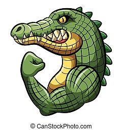 maskottchen, karikatur, krokodil, design, starke