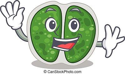 maskottchen, lächeln, stil, charismatic, bakterien, design, hand, chroococcales, winkende