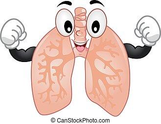 Maskottchen Lunge stark.