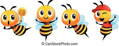 maskottchen, set., zeichen, ausstellung, schöpflöffel, kappe, reizend, tragen, biene, honig, vektor, zeichen, sieg, besitz, karikatur, -