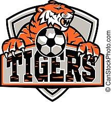 maskottchen, tiger, fußball, schutzschirm