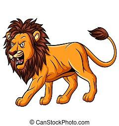 maskottchen, weißes, löwe, brüllen, karikatur, hintergrund