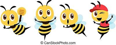 maskottchen, zeichen, cap., design., abbildung, schöpflöffel, vektor, reizend, wohnung, tragen, biene, honig, satz, ausstellung, karikatur, sieg, freigestellt, besitz