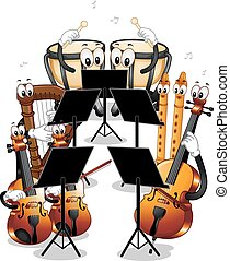 Maskottchenorchesterinstrumente.