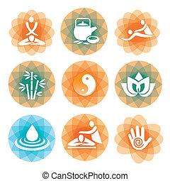 Massage Spa Symbole Hintergründe.