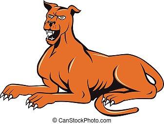 Mastiff Hund mongrel bellt sitzenden Cartoon.