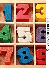 Mathe-Spiel fürs Junior-Zeitalter mit farbigen Holzzeichen von Zahlen vertikal