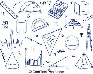 Mathematik - Schulmaterial, geometrische Formen und Ausdrucke