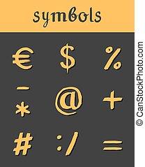 mathematisch, geschaeftswelt, icons., hand, symbole, vektor, gezeichnet