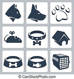 maus, hund, heiligenbilder, haustier, schüsseln, katz, vektor, set:, kragen, käfig, hundehütte, pawprint