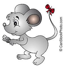Maus mit Bogen am Schwanz