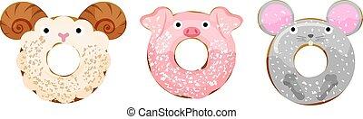 maus, schwein, gepulvert, schafe, abbildung, donuts, reizend, vektor, tiere, satz