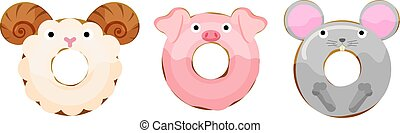 maus, schwein, schafe, abbildung, donuts, reizend, vektor, tiere, satz