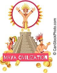 Maya Zivilisation Illustration.