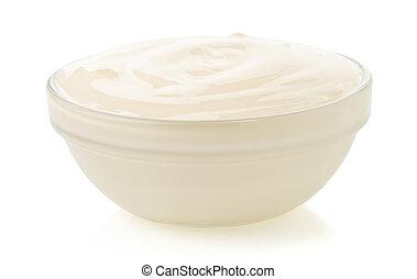 Mayonnaisesauce isoliert auf weiß