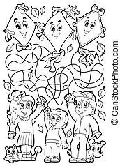 Maze 9 Farbbuch mit Kindern.