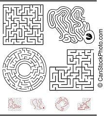 Maze Freizeitspiel Grafiken mit Antworten.