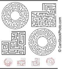 Maze Freizeitspiel Grafiken mit Linien.