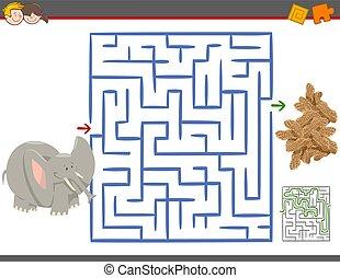 Maze Freizeitspiel mit Elefanten.