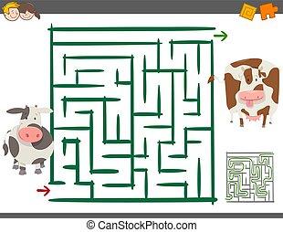 Maze Freizeitspiel mit Kühen.