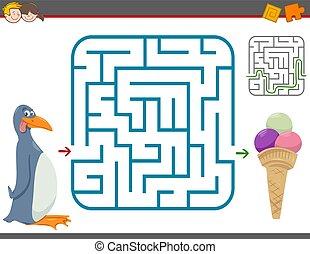 Maze Freizeitspiel mit Pinguin.