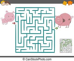 Maze Freizeitspiel mit Schweinen.