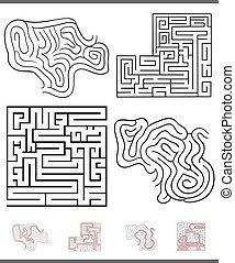 Maze Freizeitspielgrafik mit Lösungen.