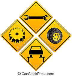 Mechaniker reparieren Autozeichen