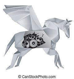 Mechanische Origami Pegasus.