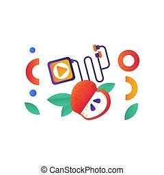 Media Player und roter Apfel, Sport, Fitness, gesunde Lifestyle Symbole Vektor Illustration auf einem weißen Hintergrund.