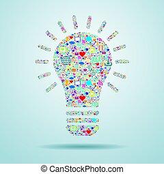 medien, glühlampe, icons., sozial