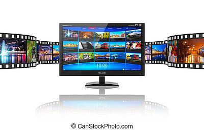 medien, video, strömt, fernmeldeverwaltungen, begriff