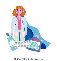 medikation, doktoren, sie, zeichen, arzt, kap, held, weibliche , kapsel, pillen, dank