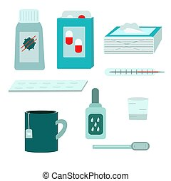 medikationen, behandlung, krankheit, satz