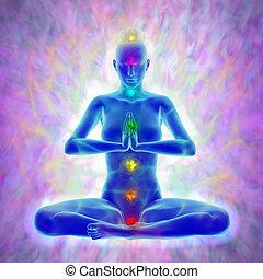 meditation, -, aura, chakras