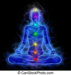 meditation, energie, koerper, chakras, aura, frau