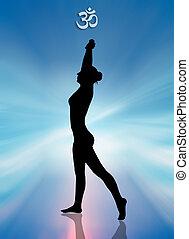 meditation, frau, joga