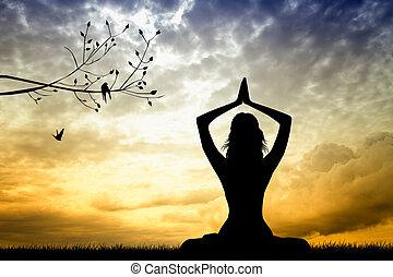 meditation, frau
