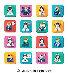 Medizin-Ärzte und Krankenschwestern Ikonen aufgestellt.