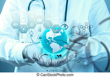 Medizin Doktor Hand, die mit moderner Computerinterface als medizinisches Konzept arbeitet