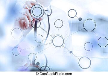 Medizin Doktor Handarbeit mit moderner Computerschnittstelle als medizinisches Konzept.