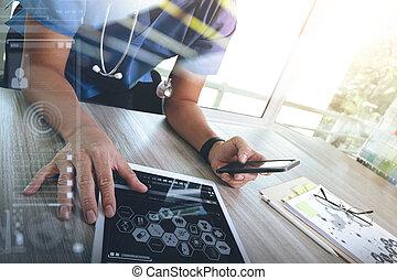Medizin-Doktor Handarbeit mit moderner digitaler Tablet-Computerschnittstelle als medizinisches Netzwerkkonzept.