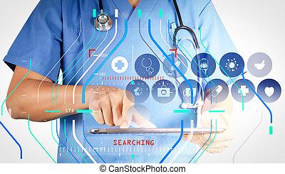Medizin Doktor mit modernem Tablet Computer und virtueller Schnittstelle